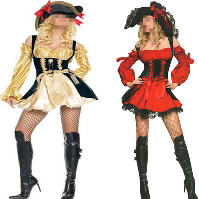 Gold Pirate Costume women adult party Red halloween costumes long sleeve Sexy matador Pirate captain cosplay Costume with hat ...