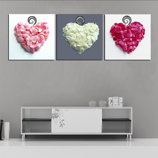 3 panel modern painting home decorative art picture paint on canvas prints petals white pink