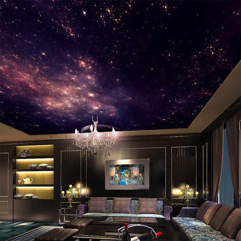 Custom Mural 3D Bintang Nebula Langit Malam Lukisan Dinding Langit-langit Cacar Wallpaper Kamar Tidur TV Latar Belakang Galaxy Tema Wallpaper