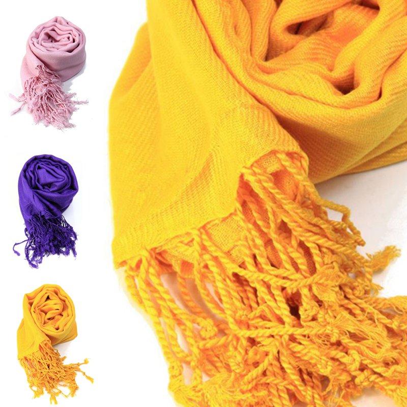 Autumn Winter Women Pashmina Shawls Scarves Solid Cashmere Scarves Women Oversized Blanket Scarf Wrap long Wool Tassel Scarf