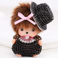 New Super Cute MONCHHICHI MONCHICHI llavero hermosa muñeca llavero colgante llavero de regalo para la muchacha amigo mujer del encanto del bolso llaveros