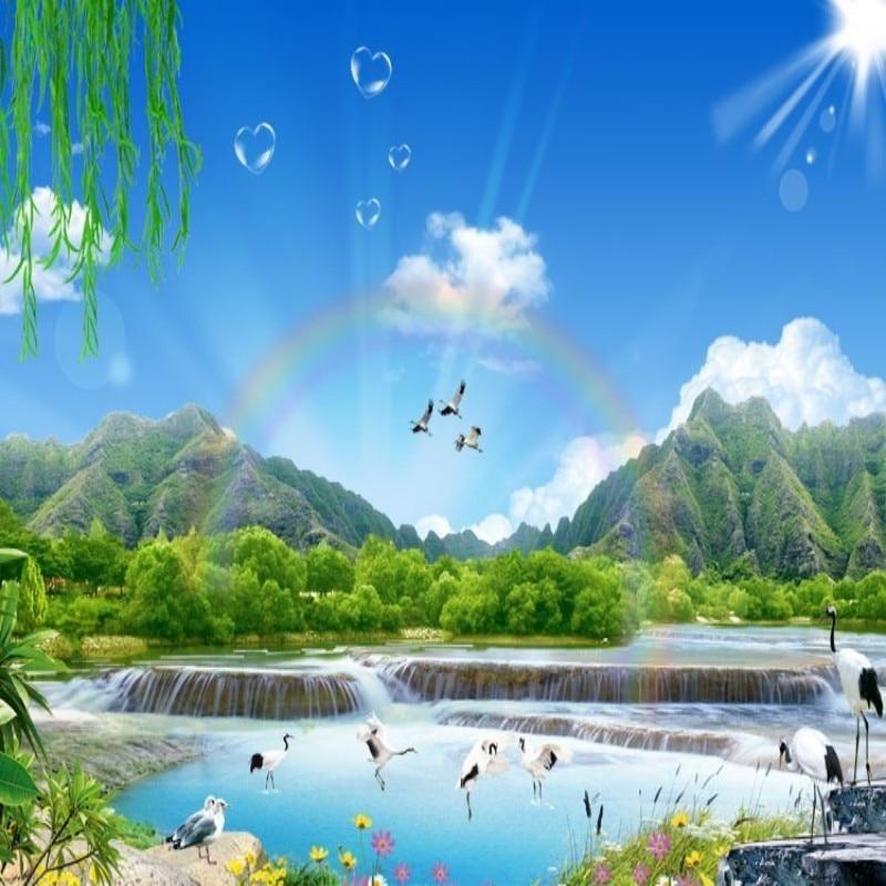 Beibehang Blue Sky Scenery Rainbow Waterfall Video Mural Wallpaper Sofa Tv Background 3d