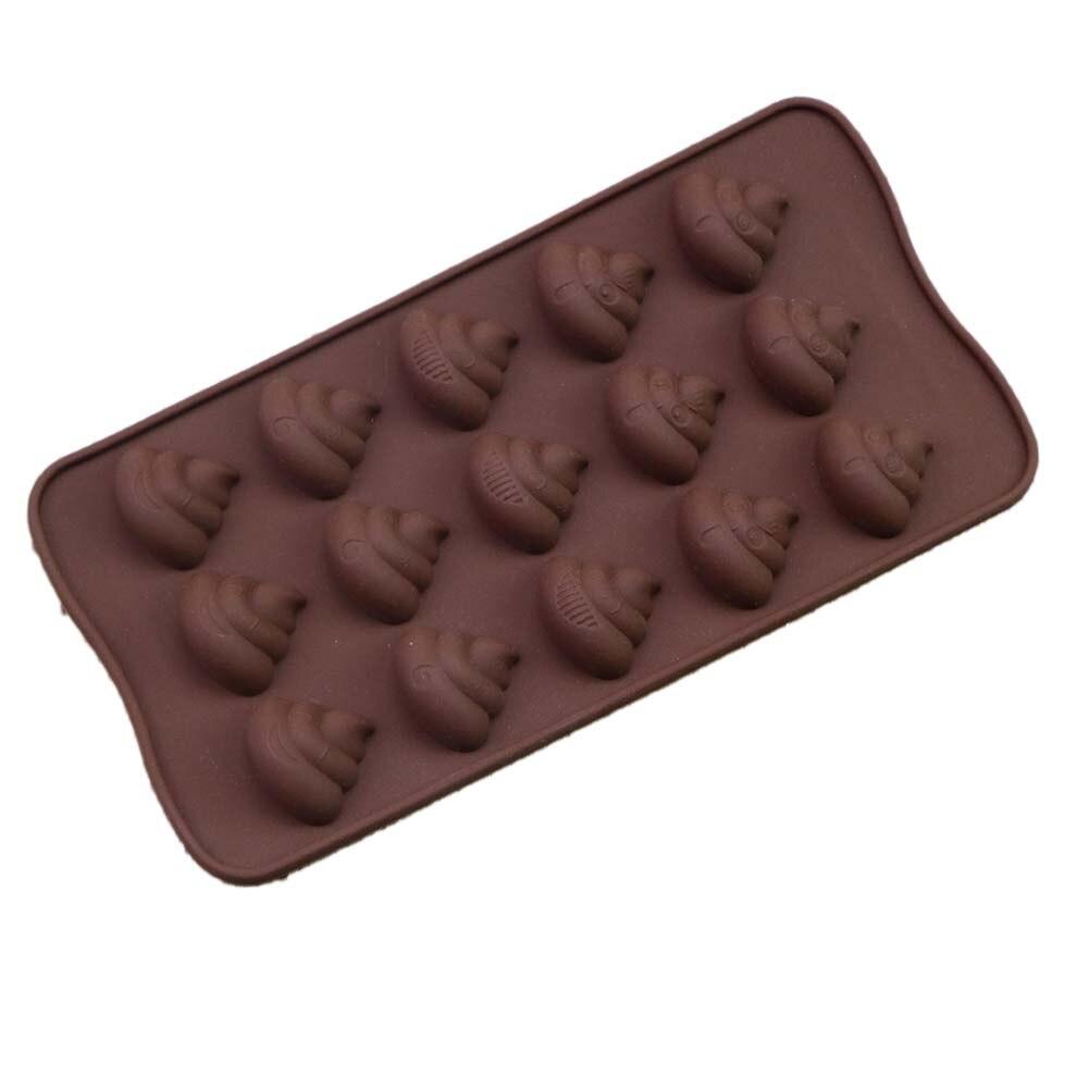 CoöPeratieve Diy Chocolade Bakken Siliconen Mallen Nieuwe 15 Gaten Fun Kruk Poepen Cake Mallen Ice Cube Decorating Gereedschap Formulieren Voor Keuken Dingen Geschikt Maken Voor De Mensen