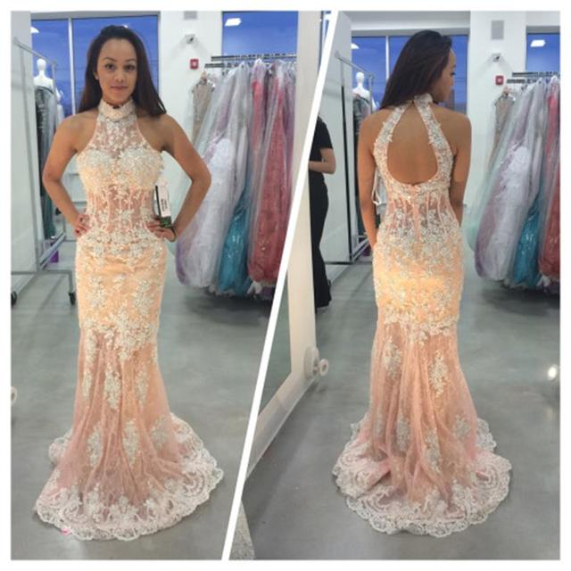 e263a76505c Coral Color Prom Dresses 2017 Sleeveless Appliques Sweep Train Polyester  High Neck Line Long prom dress