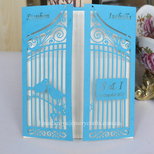 100pcs Lot Custom Turquoise Invitation Card Design Wedding Turquoise  Decoration Paper Card Laser Cut(China