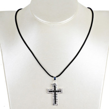 Double Rhinestone Cross Pendant Necklace