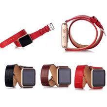 Роскошные натуральная кожа часы ремешок ремешок с двойным тур замена для 38 мм 42 мм яблоко часы модели