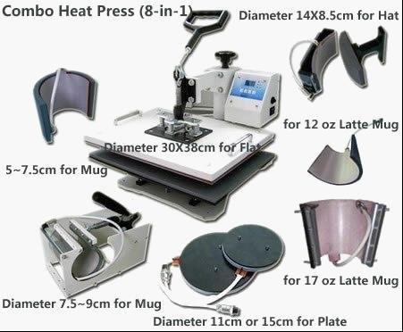 8 в 1 футболка/кружка/крышка/пластина комбинированный тепловой пресс машина, тепловой пресс, сублимационная машина, пресс-машина, теплопередача машина