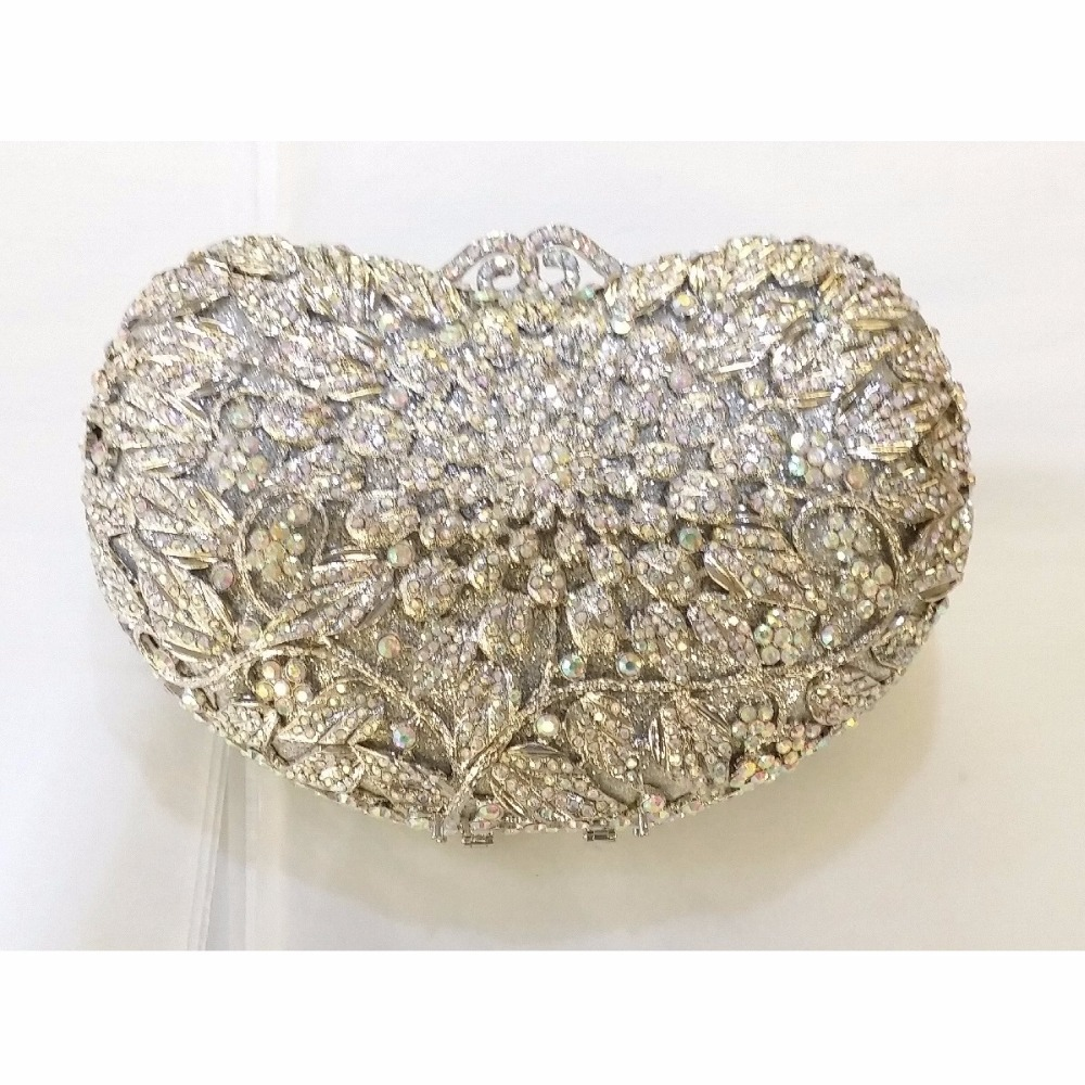 ФОТО 8359S silver Crystal Floral flower Wedding Bridal Party Night hollow Metal Evening purse clutch bag handbag box case