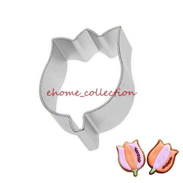 2Pcs Tempting Aluminum alloy Plant Tulip Flower Shape Handmade DIY Baking Mold Metal Cutter Cake Chocolate Cookies Mould
