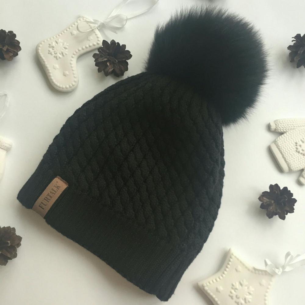 Женская шапка с помпоном с Алиэкспресс