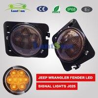 Paar Lantsun J025 gemakkelijk installeren 12 V ABS 4 w voorspatbord side richtingaanwijzer LED amber kleur past Jeep wrangler JK 2007 ~ 2015