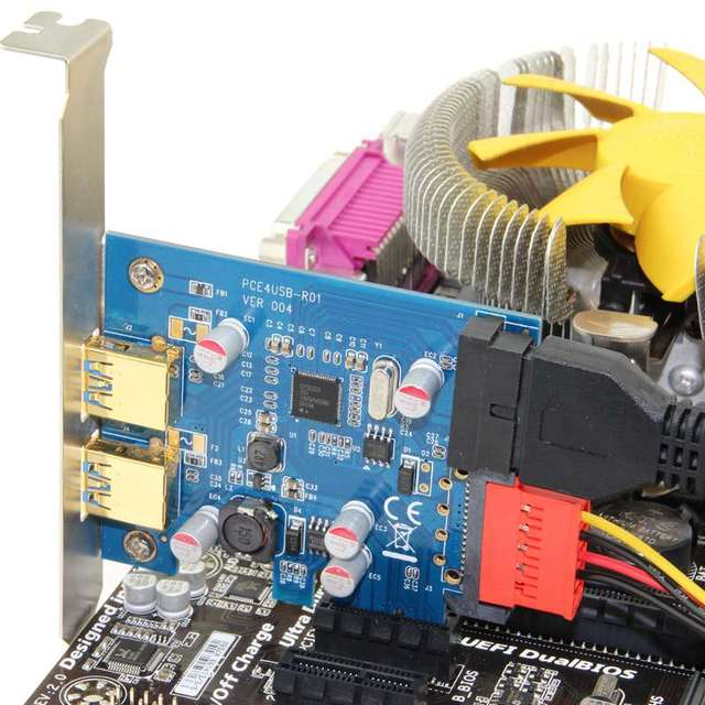 2 ports usb 3.0 pci-e PCI E express Card adapter Expansion Adapter Add On Cards 20 pin + SATA power supply with NEC chip
