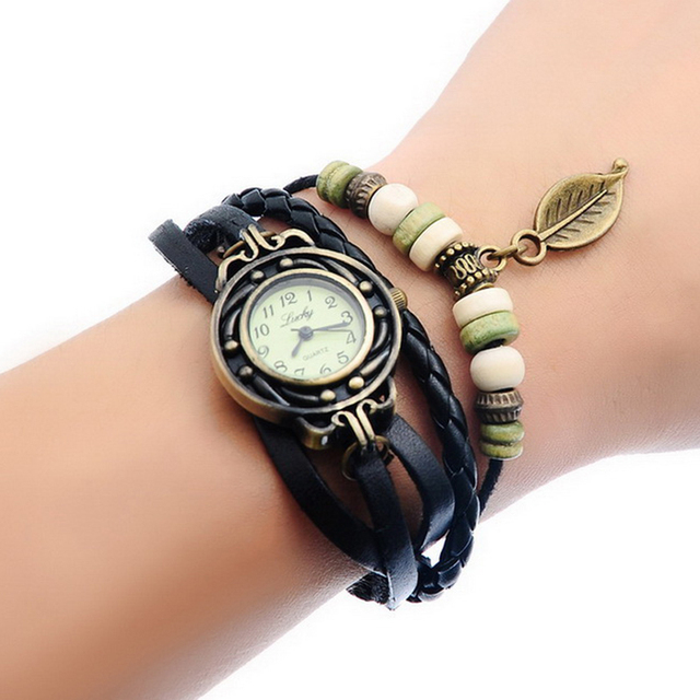 Leaf Charm Pendant Watches Women Wrist Watches Vintage Retro Girl Leather Bracel