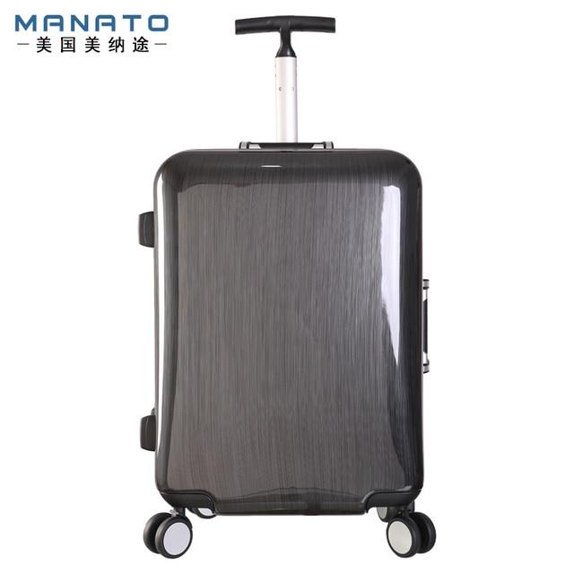 Manato 19 Inch Unisex Luggage Aluminum Frame Trolley Luggage Suitcase Caster Board Chassis Lockbox Singles Rod Luggage
