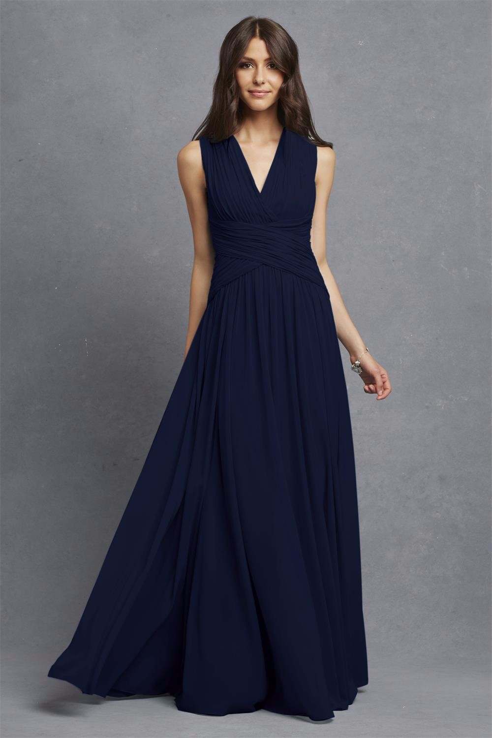 Online get cheap navy blue floor length bridesmaid dresses sa153 v neck chiffon navy blue long floor length cheap bridesmaid dresses 2016china ombrellifo Image collections