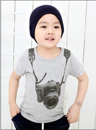 Cotton Blend Summer baby t-shirts Boy Kids Camera Short Sleeve Cartoon Tops Children O-neck T Shirt Casual Gray Tees Clothes