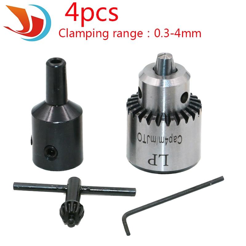 4pcs//set Micro Motor Drill Chucks Clamping 0.3-4mm Jt0 Taper Mounted Drill Chuck