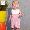 DB3493 дэйв белла летний новорожденного мальчика хлопок красный полосатый ползунки для новорожденных 1 one piece