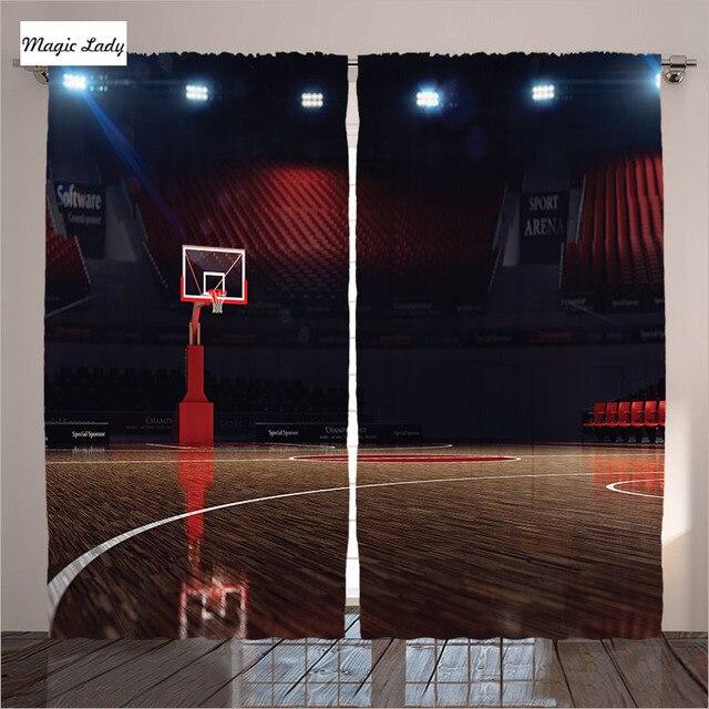 € 85.05 |Rideaux occultants chambre salon basket Sport Arena Spot lumières  bois sol marron noir rouge 2 panneaux Set 145*265 sm dans Rideaux de Maison  ...