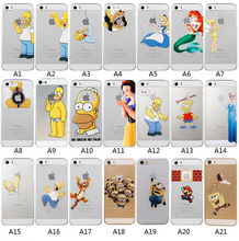For  Apple iPhone 4 4S 5 5S 5C SE 6 6S Plus Transparent PC Shell Cartoon Funny Unique Design Hard Mobile Phone Case Cover