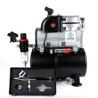 OPHIR обновленный PRO воздушный компрессор с 3.0L Воздушный бак и вентилятор охлаждения технология двойного действия Аэрограф Комплект для зага