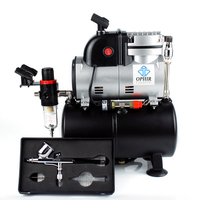 OPHIR Upgraded PRO Air Compressor with 3.0L Air Tank & Fan Cooling Technology Dual Action Airbrush Kit for Tanning/Model Hobby
