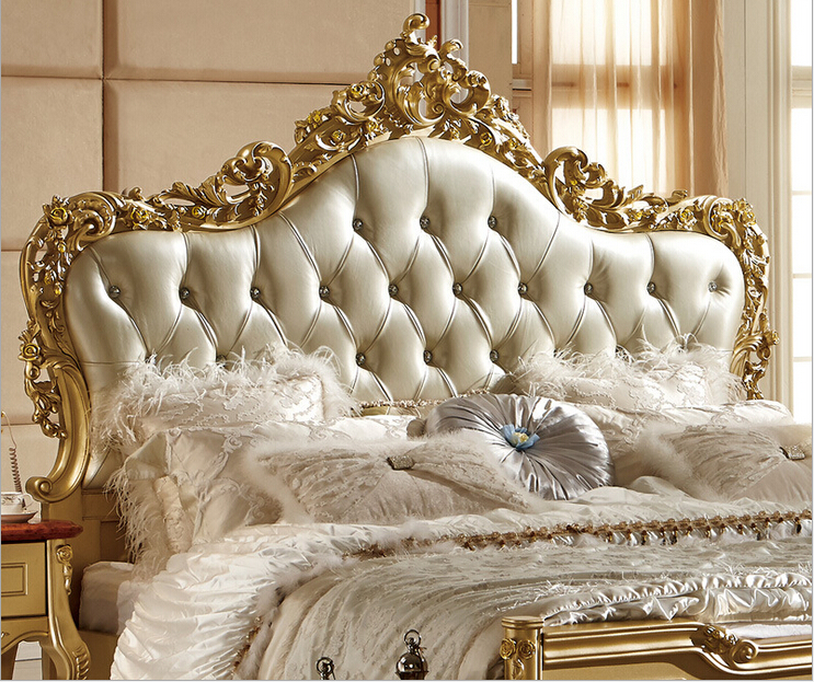 . US  1217 0  Luxury hand carving golden color wood bed 0211 in Beds from  Furniture on Aliexpress com   Alibaba Group