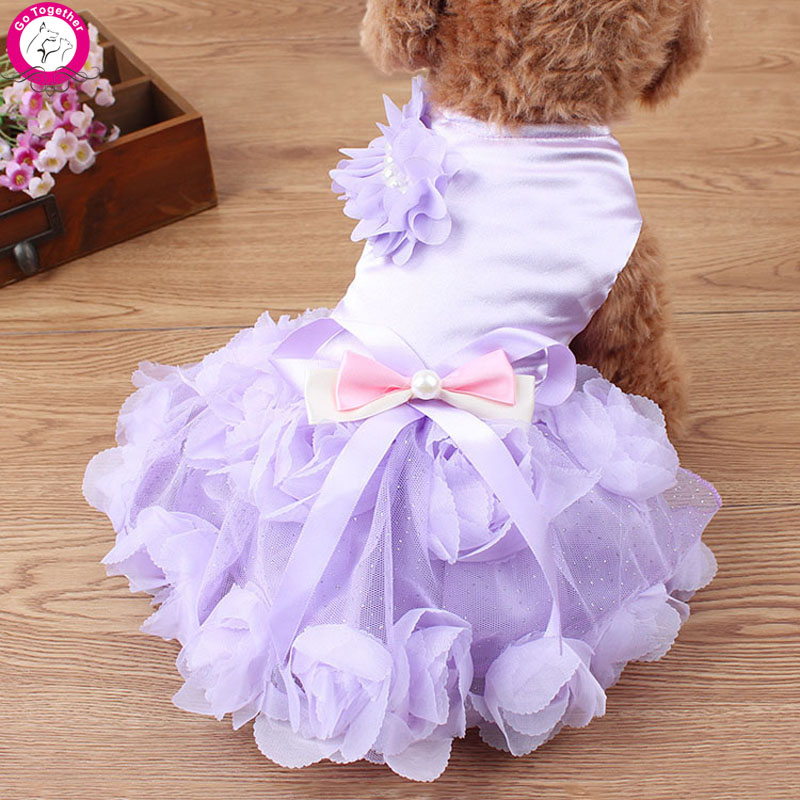 Rose Pearl Princess Dog Wedding Dress Party Tutu Skirt