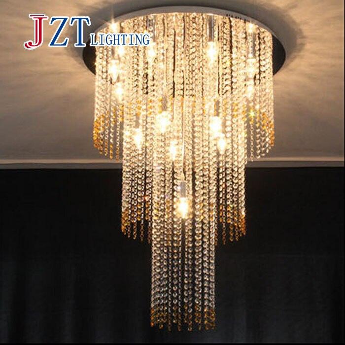 ZYY Кристалл Стекло потолочный светильник большой блеск Cristal лампы для лестницы, Лестницы, кристалл лестница лампа для гостиницы AndProject