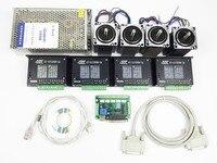 ЧПУ комплект 4 оси, 4 шт. 1 Ось TB6600 Драйвер + один интерфейс доска + 4 шт. Nema23 312 унций в шаговый двигатель + один источник питания