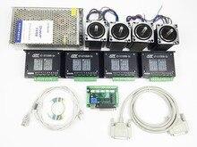 Kit Enrutador CNC de 4 Ejes, 4 unids 1 ejes TB6600 DEL TABLERO de conductor + un tablero de interfaz + 4 unids Nema23 312 oz-in motor paso a paso + una fuente de alimentación