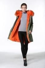 Модные пальто с мехом съемный меховой воротник енот и Orange внутри на длинная стильная Франция Флаг бисером от дамы одежда