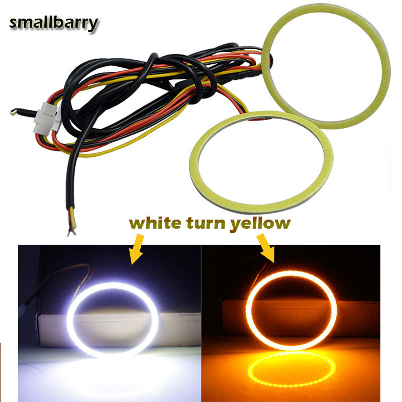 цена на 2Pcs dual colors Halo Rings Angel Eye With Lampshades DRL car led light COB daytime light with turn signal 60-120mm white+Amber