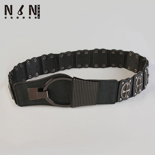 Han edition female cross design of metal elastic belt sealing child dress loins wide belt Y943