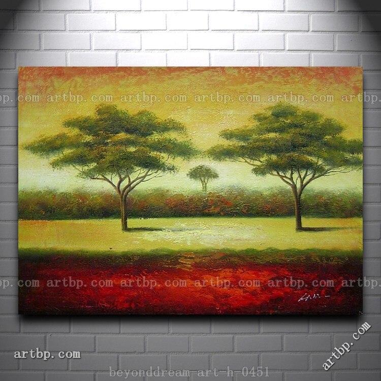 Verde árboles paisaje pintura al óleo impresionismo paisaje árbol ...
