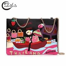 Features Arts and Crafts Women Handbag W347 Appliques Sweet Lady Crossbody Bag Folk-custom Feature Arts and Crafts Women Handbag
