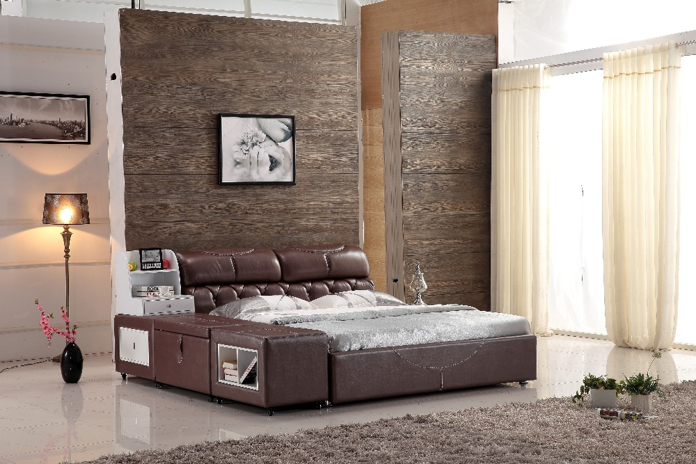 Chinese Bedroom Furniture Leather Bed Frame With Drawers 0414 B812