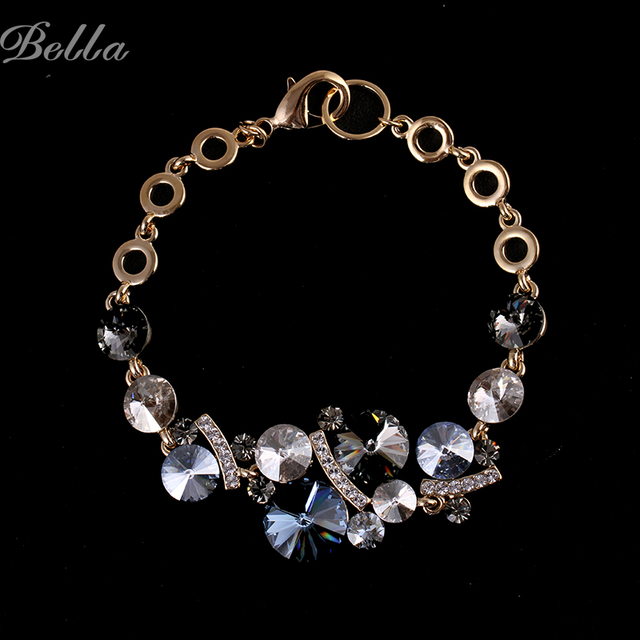 New 2015 Women Jewelry real gold plated bracelet stardust bracelet 100% Austrian crystals Bangles and Bracelets s0019