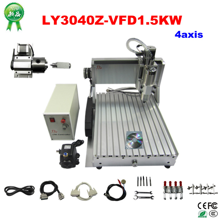 LY 3040Z-VFD1.5KW 4axis CNC engraving machine woodworking machine  mini cnc router with water cooling spindle russia tax free cnc woodworking carving machine 4 axis cnc router 3040 z s with limit switch 1500w spindle for aluminum