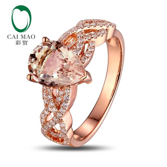 Природный 1.79ct груша морганит 0.35ct H SI1 бриллианты 18 К розовое золото обручальное кольцо