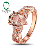 Natural 1 79ct Pear Cut Morganite 0 35ct H SI1 Diamonds 18K Rose Gold Engagement Ring