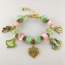 4ff51421e AKA Pink Green gold Charms Bracelet Alpha Kap Alpha Sorority gold Jewelry  bracelet free shipping