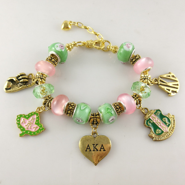 AKA Pink Green gold Charms Bracelet Alpha Kap Alpha Sorority gold