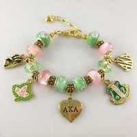 AKA Rosa Verde ouro Encantos Pulseira Alpha Alpha Kap Sorority pulseira Jóias de ouro frete grátis