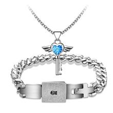 Couples Bracelets Lock And Key Concentric Pendant Male Female Fashion Couples Jewelry Silver Titanium Steel Bracelet Jewelry Set