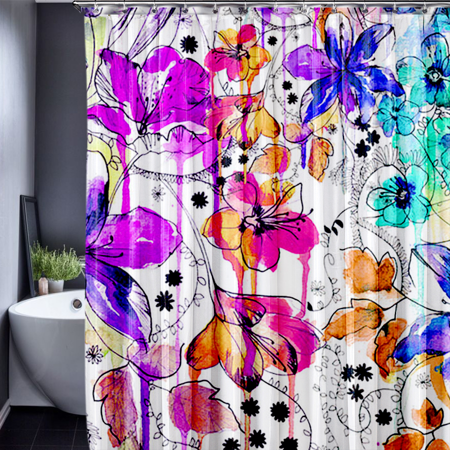Plant Customized Shower Curtain Waterproof Polyester Fabric 180x180cm Shower Curtain For The Bathroom