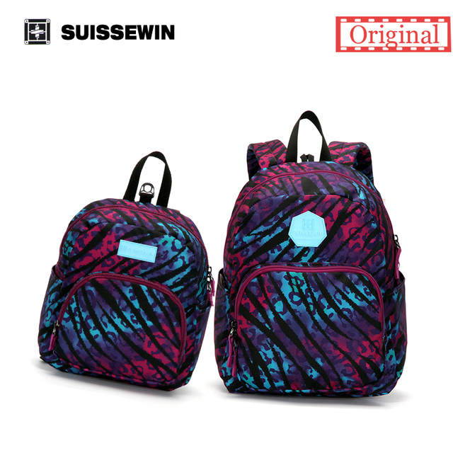 Suissewin Purple Parent-child Set Bag Family Backpack Set Baby Kids Korean Backpack Anti-lost Kindergarten Bag Gift to Parents