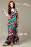 платье, богема стиль бретелька макси
