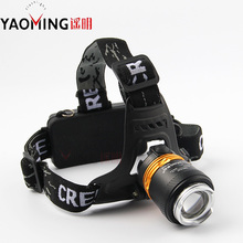 High power led headlamp CREE XM-L T6 2000lm outdoor camping zoomable flashlight by 2*18650 for riding headlight
